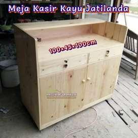 Meja kasir bahan full kayu jatilanda 100x45 vernis bisa request warna