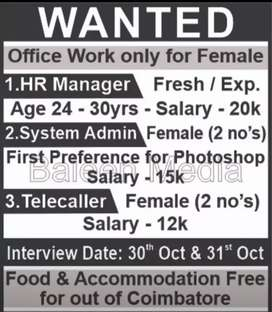 Office  staff for female only