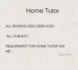Home Tutor (SSC,CBSE,ICSE)(1st to 10th)