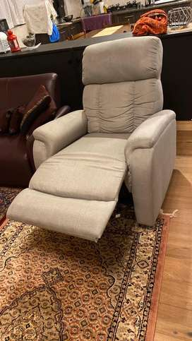 Recliner With Grey Fabric Stitching and luxury foam