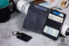 Slender Snake Magic Wallet - RFID Protected Tan Leather Bifold Slim Wa