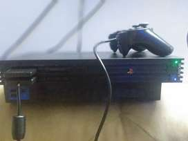 Ps2 console and power cable with software and 40 cd's with wired contr