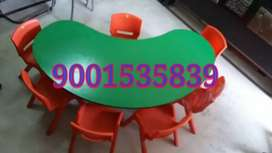 New. .Half moon table with 6 chair play school furniture