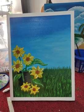 Lukisan Kanvas,Tangan Asli Cat Air. 30x40