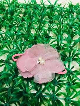 Headband baby pink flower pearl nylon