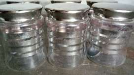 Six Clear Canisters of height 6inch.