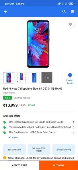 Redmi note 7 exchange with only Mi A3.Redmi Note 7. 4gb Ram, 64 gb Rom