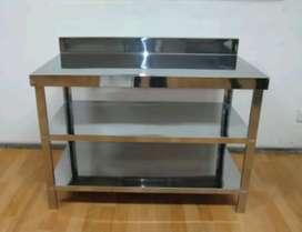 Meja stainless steel serbaguna susun 3