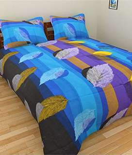 Branded double bed sheet with pillow cover