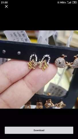Anting Ori Italy import Kadar emas 750 unik