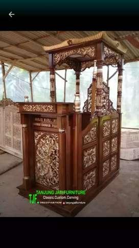 Mimbar podium masjid agung kayu jati solid