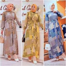 Baju gamis wanita motif dellina (COD)