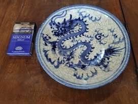 Keramik China Kuno Dinasty piring biru putih naga Part 777