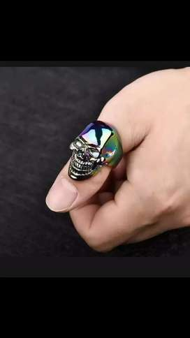 Skull colourful ring for men