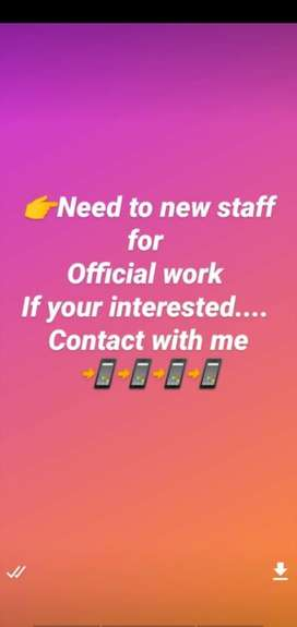 Need to new staff for office at ujjain intrested person can apply me
