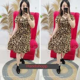 Dress ruffle motif macan bahan adem JUMBO