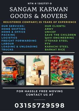 SK Movers and Packers, Home Packing, House Shifting, Labor and Trucks