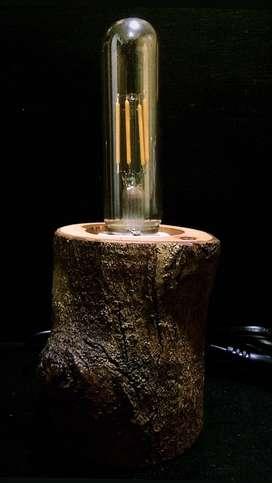 Wooden Desk Lamp Lampu Meja Kayu Asli Alami Led Edison Garansi