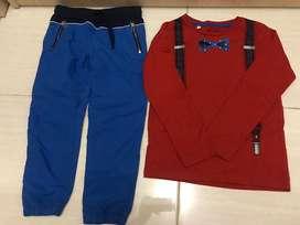 Atasan set red tie anak laki2 size 5-6thn