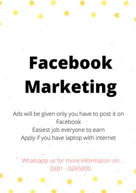 Facebook marketing authentic & real online job with weekly payout