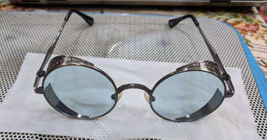 Metal Steampunk Round Greenish Blue Clear Lens Sunglasses Glasses