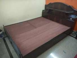King size wooden bed with Duroflex mattress