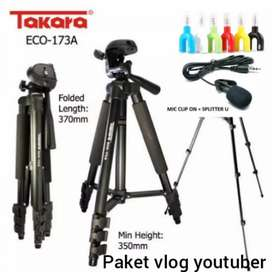 Paket vlog youtuber tripod. Takara+mic clip on+ spliter free Holder U