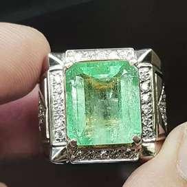 Batu Zamrud Natural Emerald Beryl Colombia 8.49ct sertifciat GRI