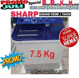 Mesin cuci Sharp 7,5kg 2 tabung baru murah