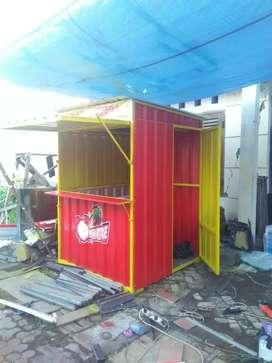 Rombong semi booth container bahan hollo galvanis dan spandek