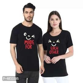 Black Printed Cotton Couple T Shirts