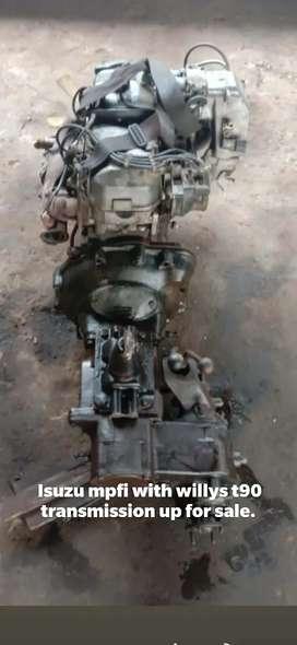Isuzu mpfi engine matted with willys t90 4x4 gearbox.