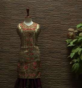 BEAUTIFUL 3PC  FORMAL/ PARTY/ BRIDAL WEAR WITH SHARARA (one size)