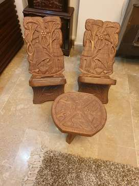Hand carved chair set