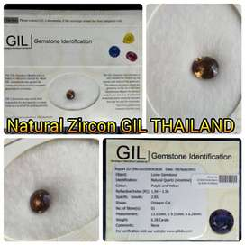 2,13 ct Natural zircon Brown Color Cambodia Sertifikat GIL Thailand