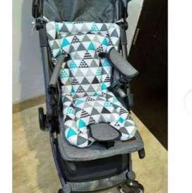 Alas Stroller Seat Pad Lubang 3 |Bantalan Motif - Triangle