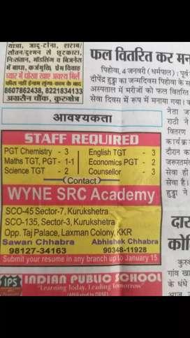 Require teachers in WYNE SRC Academy