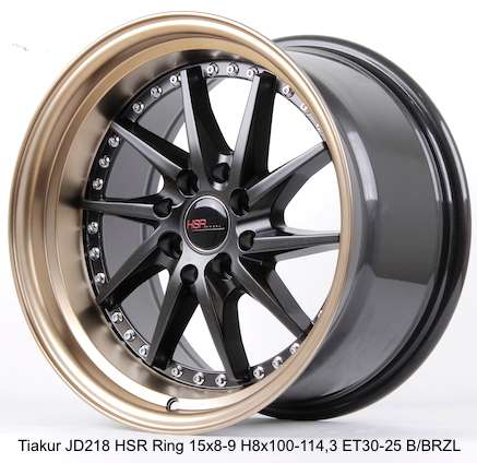 warna baru TIAKUR JD218 HSR R15X8 H8X100-114,3 ET30 BK/BZL 0