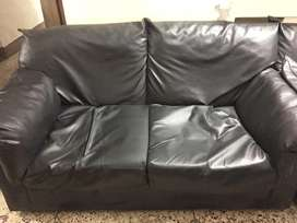 Jet black leather Sofa for sell urgently