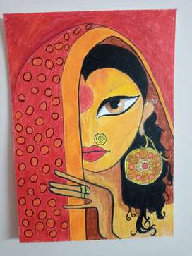 Original hand painting with oil pastel