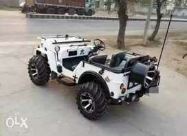 Modified stylish white coloured willy jeep
