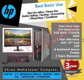"Full Set Computer - 19""LED & Combo (Keyboard & Mouse) 3 YEARS WARRANTY"