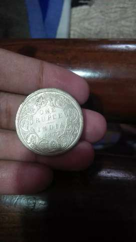 One Rupee 1877 Original Silver Coin