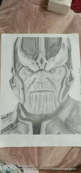 Pencil sketch of Thanos only at 799/- with frame only at 999/-