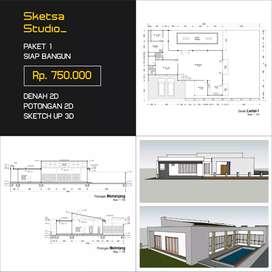 Desain Arsitek, Gambar IMB, Rumah, Ruko, Kost, Cafe dll