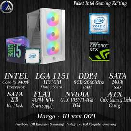 PC Gaming Editing Intel I5 9400F VGA GTX 1050TI 4GB SSD 240GB HDD 2TB