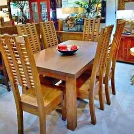 Meja makan minimalis moderen kursi 6,bahan kayu jati terbaik
