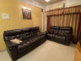 Imported Original '@Home' Leather Brown Sofa set