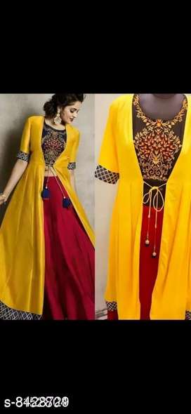 latest Kurta Sets AC shrug yellow Kurta Fabric: Rayon