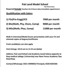 Required Female Teachers for 8 hours duty immediate appointment